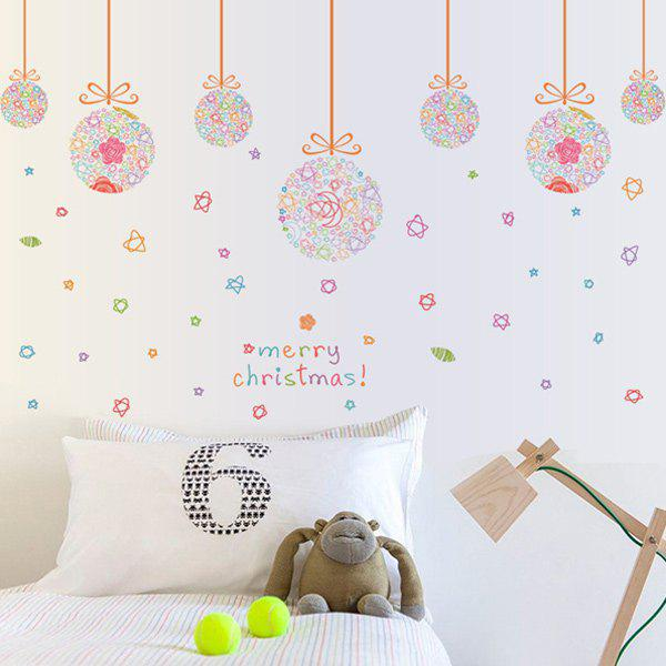 Removable Merry Christmas Colorful Star Ball DIY Wall StickersHOME<br><br>Color: COLORFUL; Wall Sticker Type: Plane Wall Stickers; Functions: Decorative Wall Stickers; Theme: Christmas,Holiday; Material: PVC; Feature: Removable; Size(L*W)(CM): 60*90; Weight: 0.310kg; Package Contents: 1 x Wall Stickers;