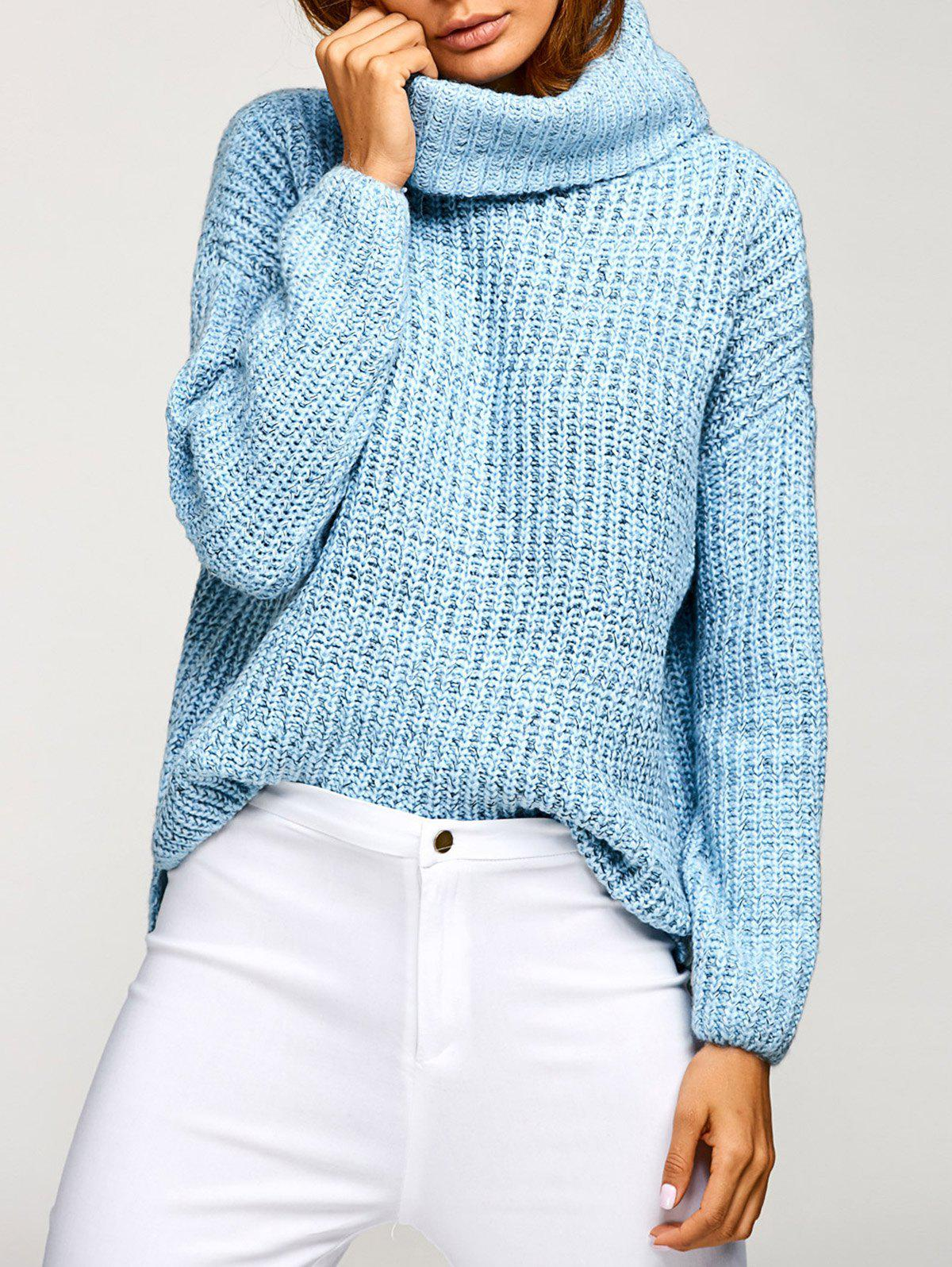 Cowl Neck Oversized Pullover SweaterWOMEN<br><br>Size: ONE SIZE; Color: BLUE; Type: Pullovers; Material: Acrylic; Sleeve Length: Full; Collar: Cowl Neck; Style: Fashion; Pattern Type: Solid; Season: Fall,Spring; Weight: 0.470kg; Package Contents: 1 x Sweater;
