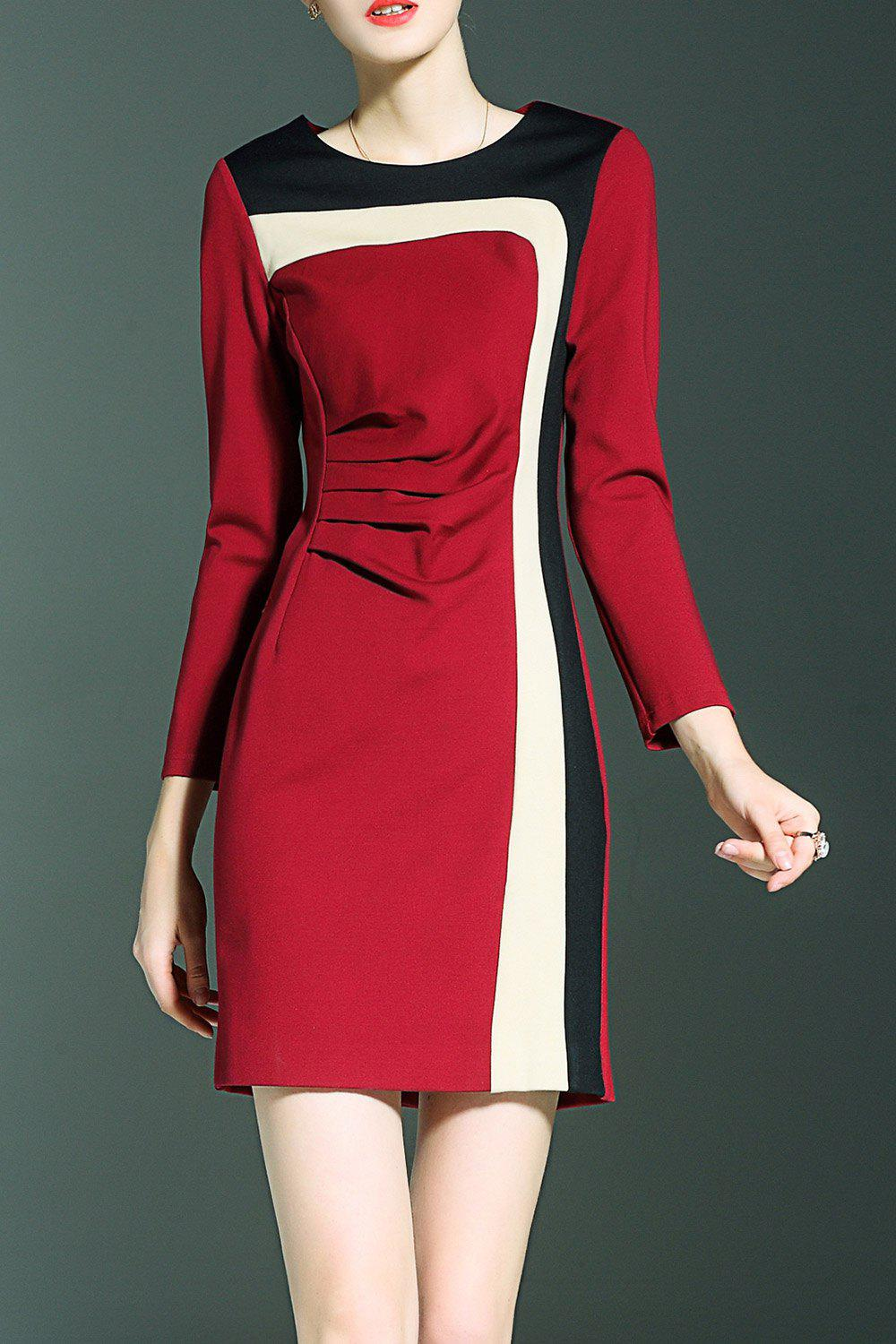 Trendy Color Block Fitted Mini Dress