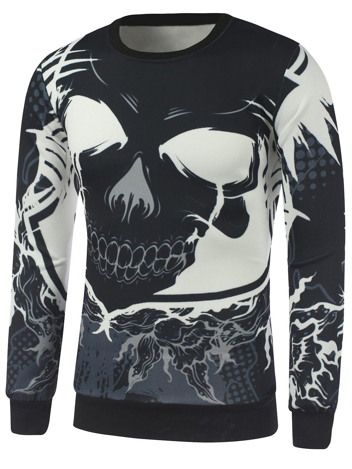Cheap Crew Neck Cartoon Skull Printed Sweatshirt