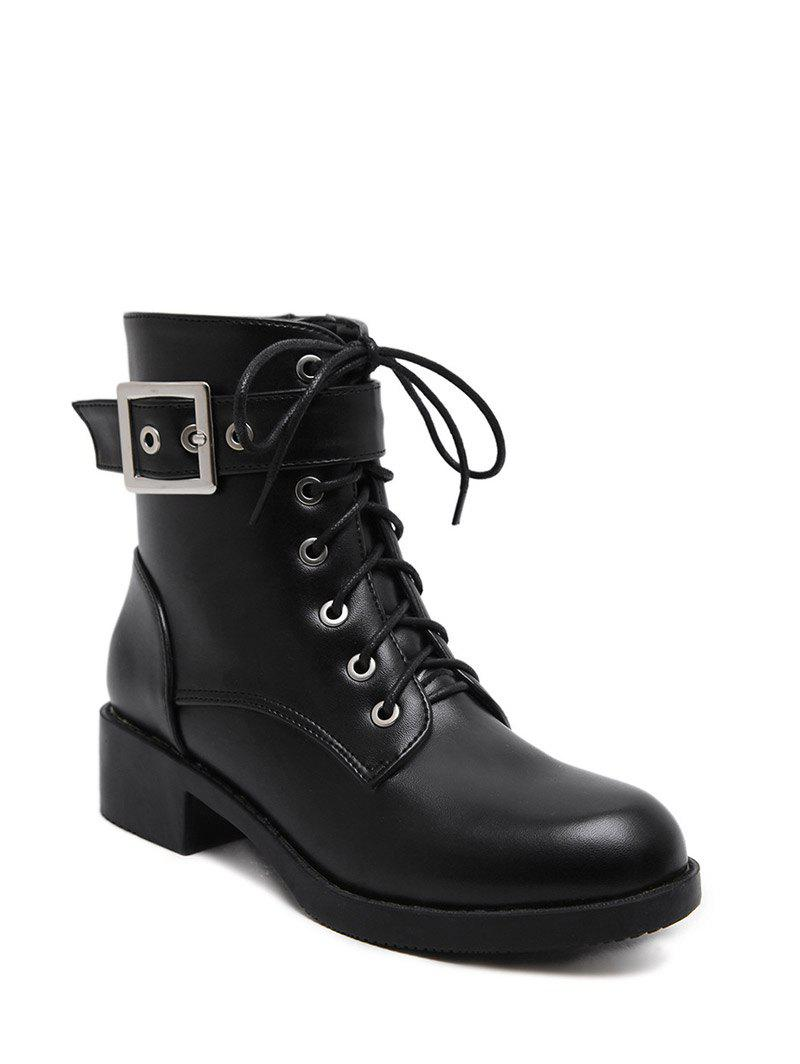 Hot Eyelet Buckle Strap Chunky Heel Combat Boots
