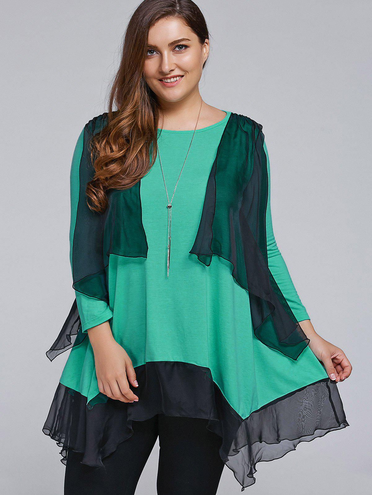 New Plus Size Overlay Chiffon Patchwork Asymmetrical Blouse