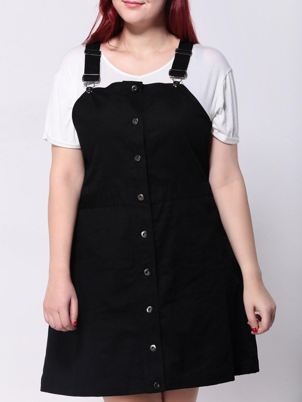 24% OFF] Plus Size Front Button Up Pinafore Dress | Rosegal