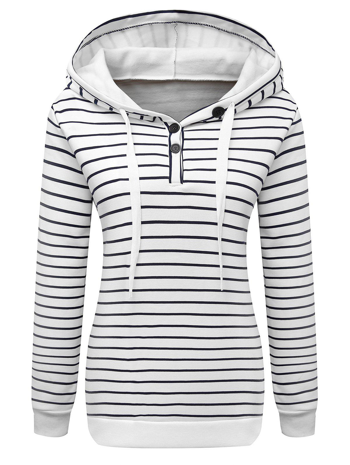 Sale Long Sleeve Button Striped Drawstring Hoodie