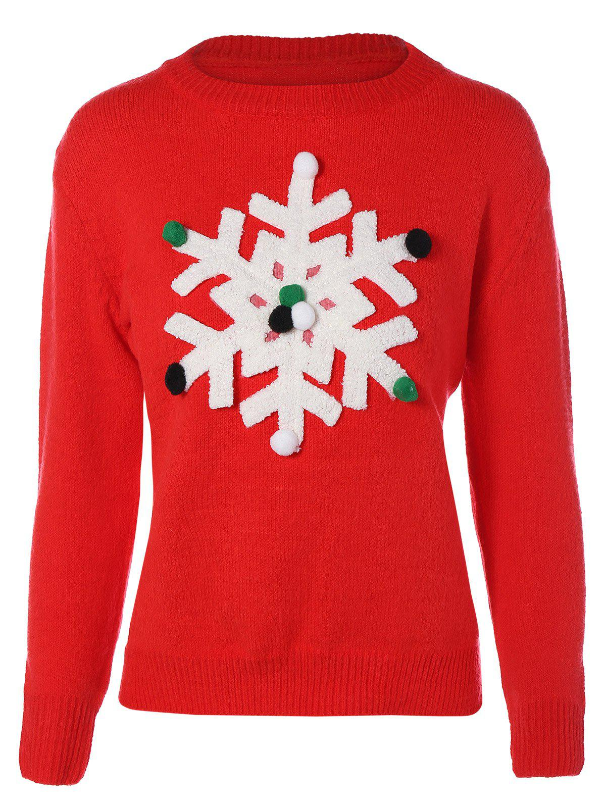 Christmas Snowflakes SweaterWOMEN<br><br>Size: M; Color: RED; Type: Pullovers; Material: Polyester; Sleeve Length: Full; Collar: Round Neck; Style: Fashion; Pattern Type: Patchwork; Season: Fall,Spring,Winter; Weight: 0.390kg; Package Contents: 1 x Sweater;