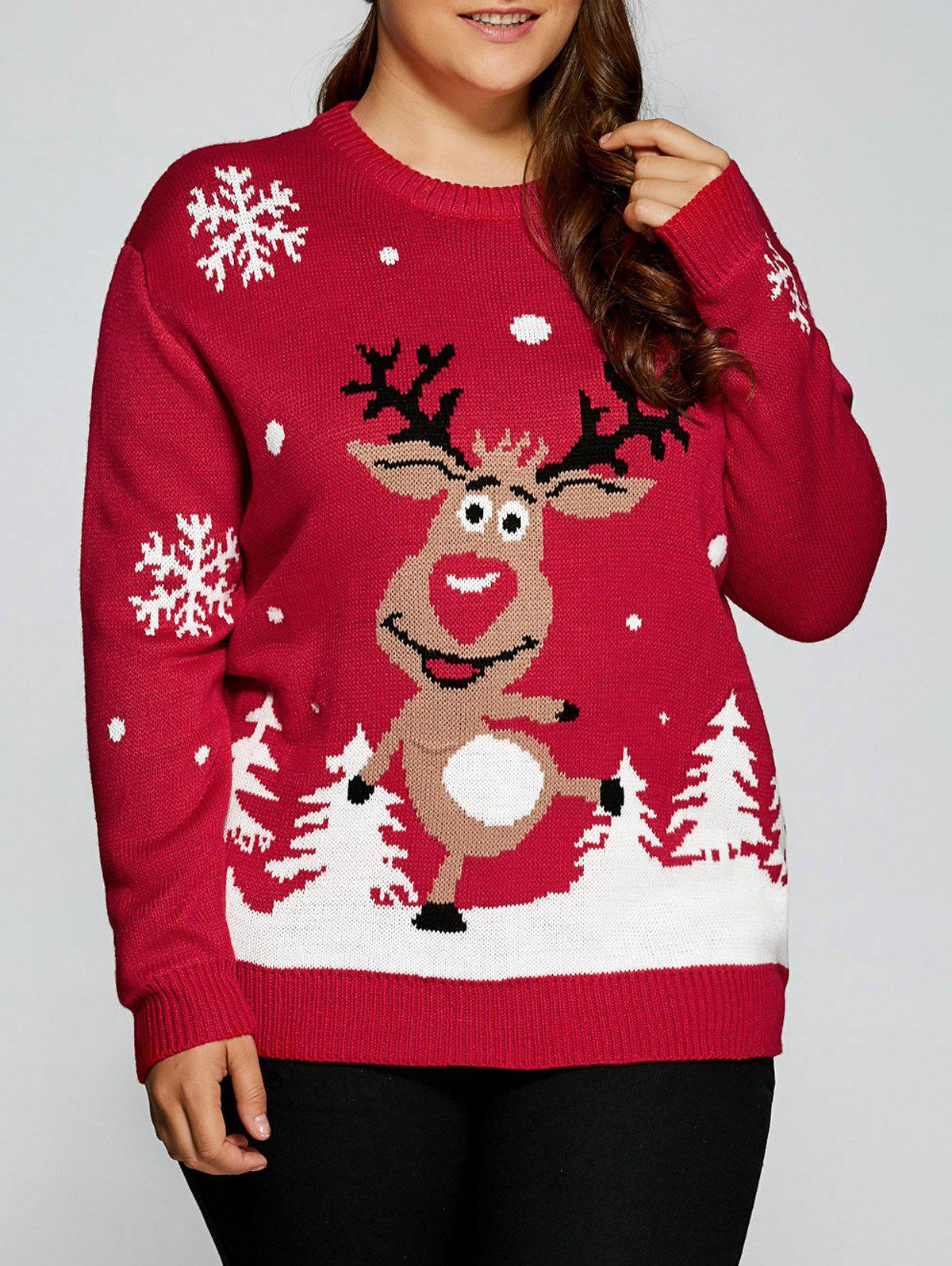 Plus Size Snowflake Fawn Christmas SweaterWOMEN<br><br>Size: 5XL; Color: RED; Type: Pullovers; Material: Acrylic,Polyester; Sleeve Length: Full; Collar: Round Neck; Style: Casual; Season: Fall,Spring,Winter; Pattern Type: Animal; Weight: 0.550kg; Package Contents: 1 x Sweater;