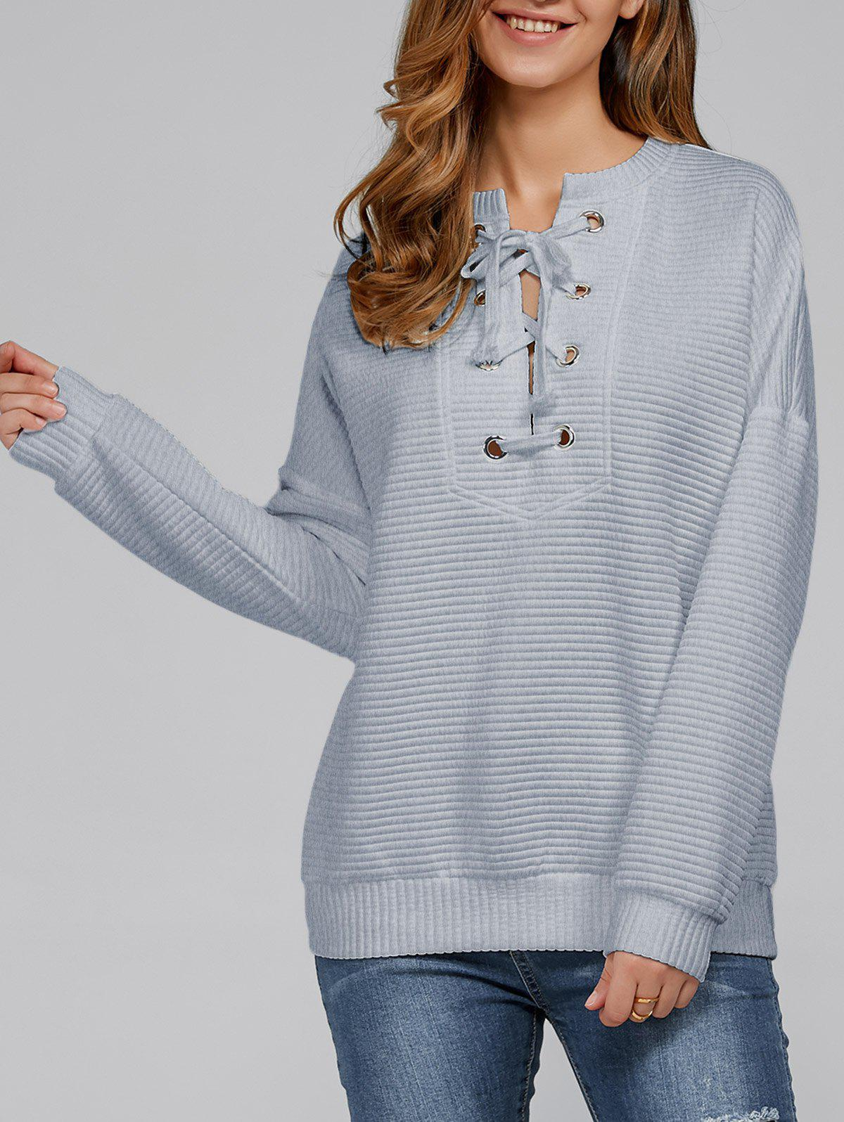 Fashion Lace-Up Ribbed Sweatshirt