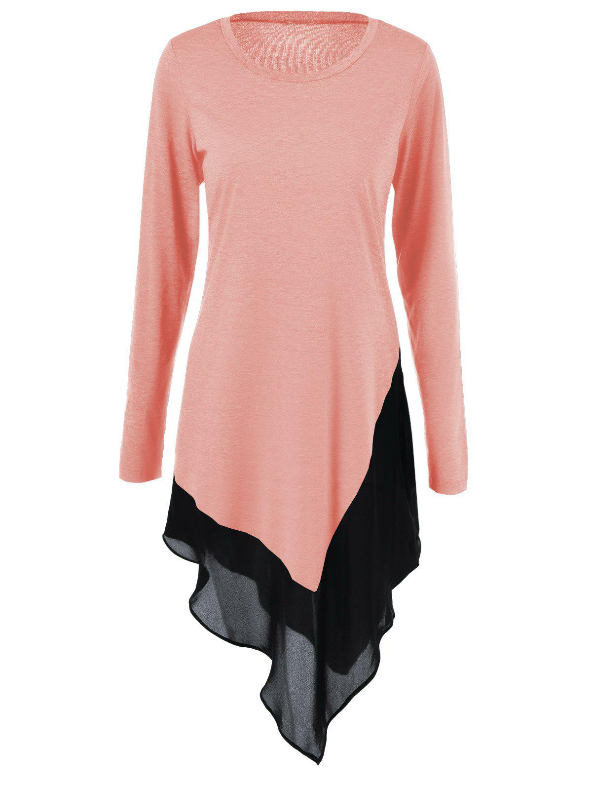 Chiffon Trim Asymmetrical Long BlouseWOMEN<br><br>Size: M; Color: ORANGEPINK; Style: Fashion; Material: Polyester,Spandex; Shirt Length: Long; Sleeve Length: Full; Collar: Scoop Neck; Pattern Type: Solid; Season: Fall,Spring; Weight: 0.3900kg; Package Contents: 1 x Blouse;