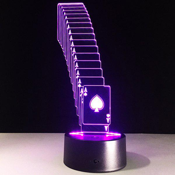 7 Color Changing 3D Bulbing Light Poker Night LightHOME<br><br>Color: TRANSPARENT; Style: Modern/Contemporary; Categories: Light; Material: Acrylic,Plastic; Voltage(V): 5V; Power (W): 3W; Size(CM): 24CM?Height?; Weight: 0.378kg; Package Contents: 1 x Night Light  1 x  USB Cable;
