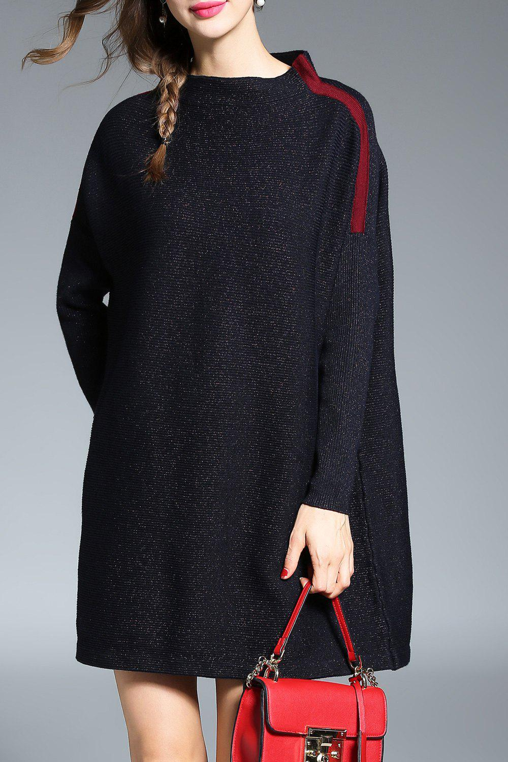 Sale Stand Collar Color Block Sweater Dress