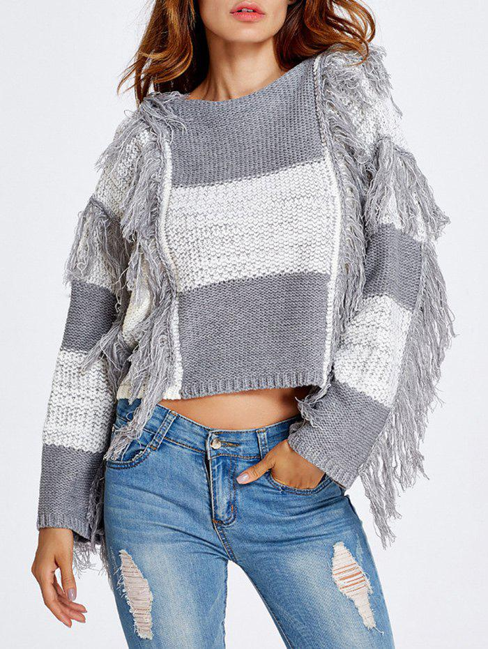 Outfit Fringed Color Block Cropped Sweater