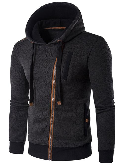 Outfits Hooded Oblique Zip-Up Edging Design Hoodie