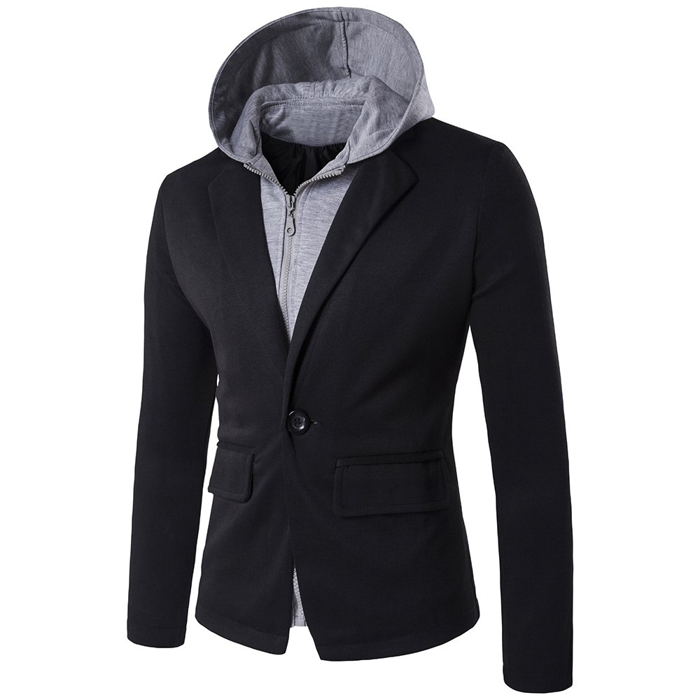 Store Faux Twinset Hooded Zip-Up Spliced One-Button Jacket