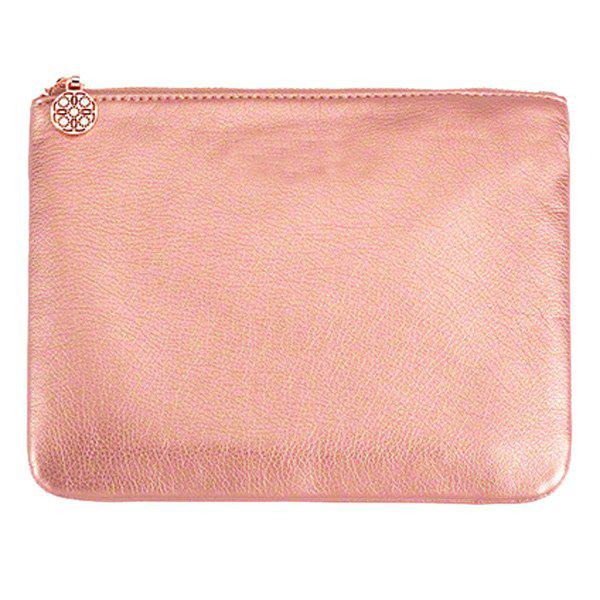 Faux Leather Makeup BagBEAUTY<br><br>Color: PINK; Category: Cosmetic Case; Features: Travel; Season: Fall,Spring,Summer,Winter; Size(CM)(L*W*H): 24*18 cm; Weight: 0.160kg; Package Contents: 1 x Bag;