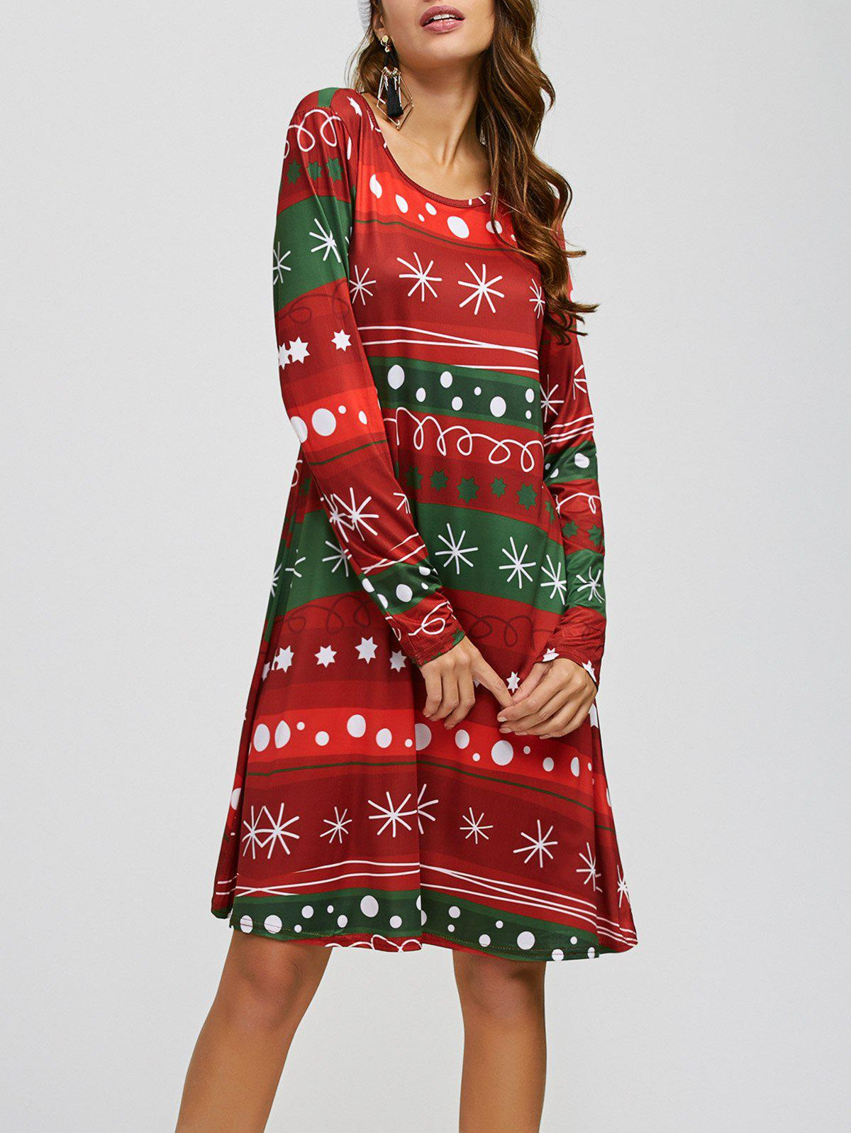 Snowflake Print Long Sleeves Xmas Swing DressWOMEN<br><br>Size: ONE SIZE; Color: RED AND GREEN; Style: Cute; Material: Polyester,Spandex; Silhouette: A-Line; Dresses Length: Knee-Length; Neckline: Jewel Neck; Sleeve Length: Long Sleeves; Pattern Type: Print; With Belt: No; Season: Fall,Spring; Weight: 0.320kg; Package Contents: 1 x Dress;