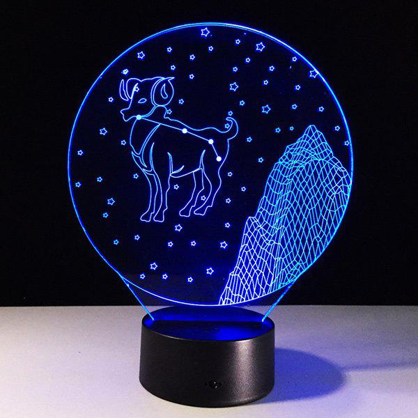 Store 3D Visual 7 Color Changing Aries Shape LED Night Light