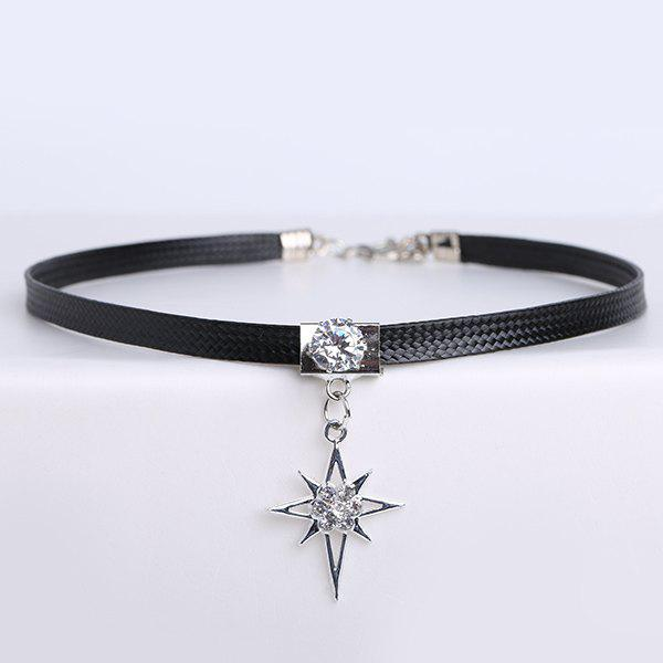 PU Leather Rhinestone Star Choker NecklaceJEWELRY<br><br>Color: BLACK; Item Type: Chokers Necklace; Gender: For Women; Style: Trendy; Shape/Pattern: Star; Weight: 0.040kg; Package Contents: 1 x Necklace;