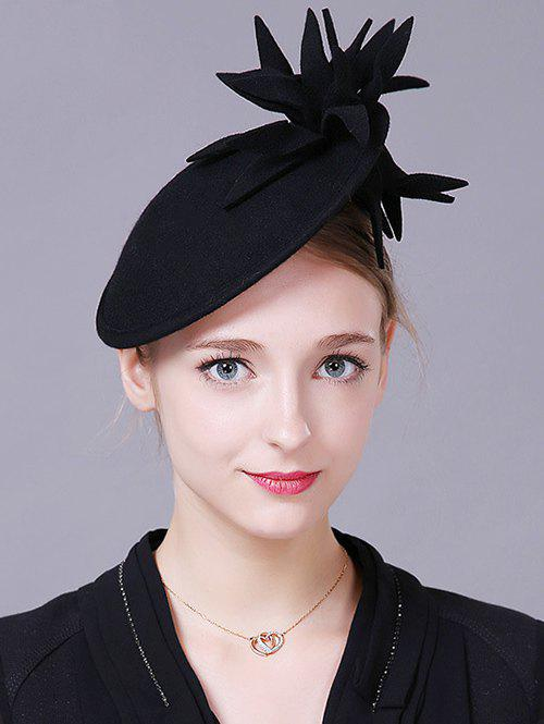 Vintage Flower Feather Cocktail HatACCESSORIES<br><br>Color: BLACK; Hat Type: Fedoras; Group: Adult; Gender: For Women; Style: Vintage; Pattern Type: Floral; Material: Wool; Weight: 0.200kg; Package Contents: 1 x Hat;