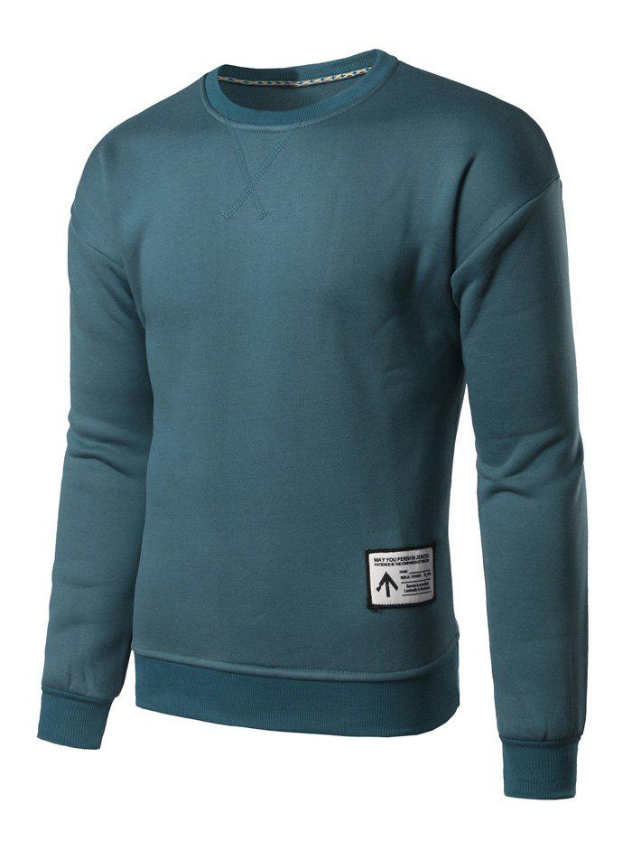Sweat-shirt Ras du Cou Applique Bleu M