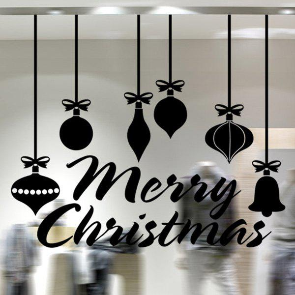 Merry Christmas Decorative Pendants Window Wall StickersHOME<br><br>Color: BLACK; Wall Sticker Type: Plane Wall Stickers; Functions: Decorative Wall Stickers; Theme: Christmas; Material: PVC; Feature: Removable; Size(L*W)(CM): 58*50; Weight: 0.260kg; Package Contents: 1 x Wall Stickers;