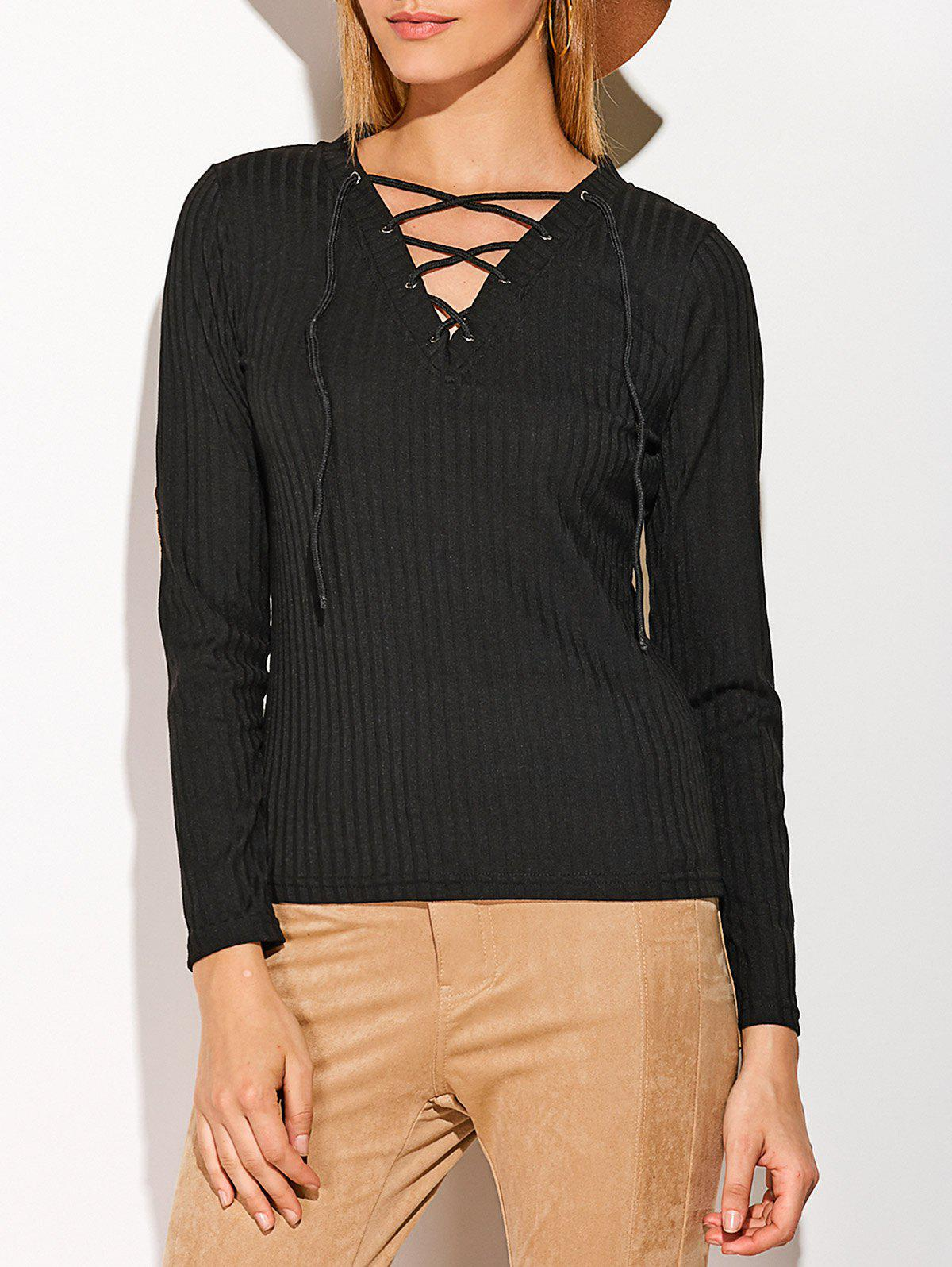 Best Patched Sleeve Ribbed Lace Up Top