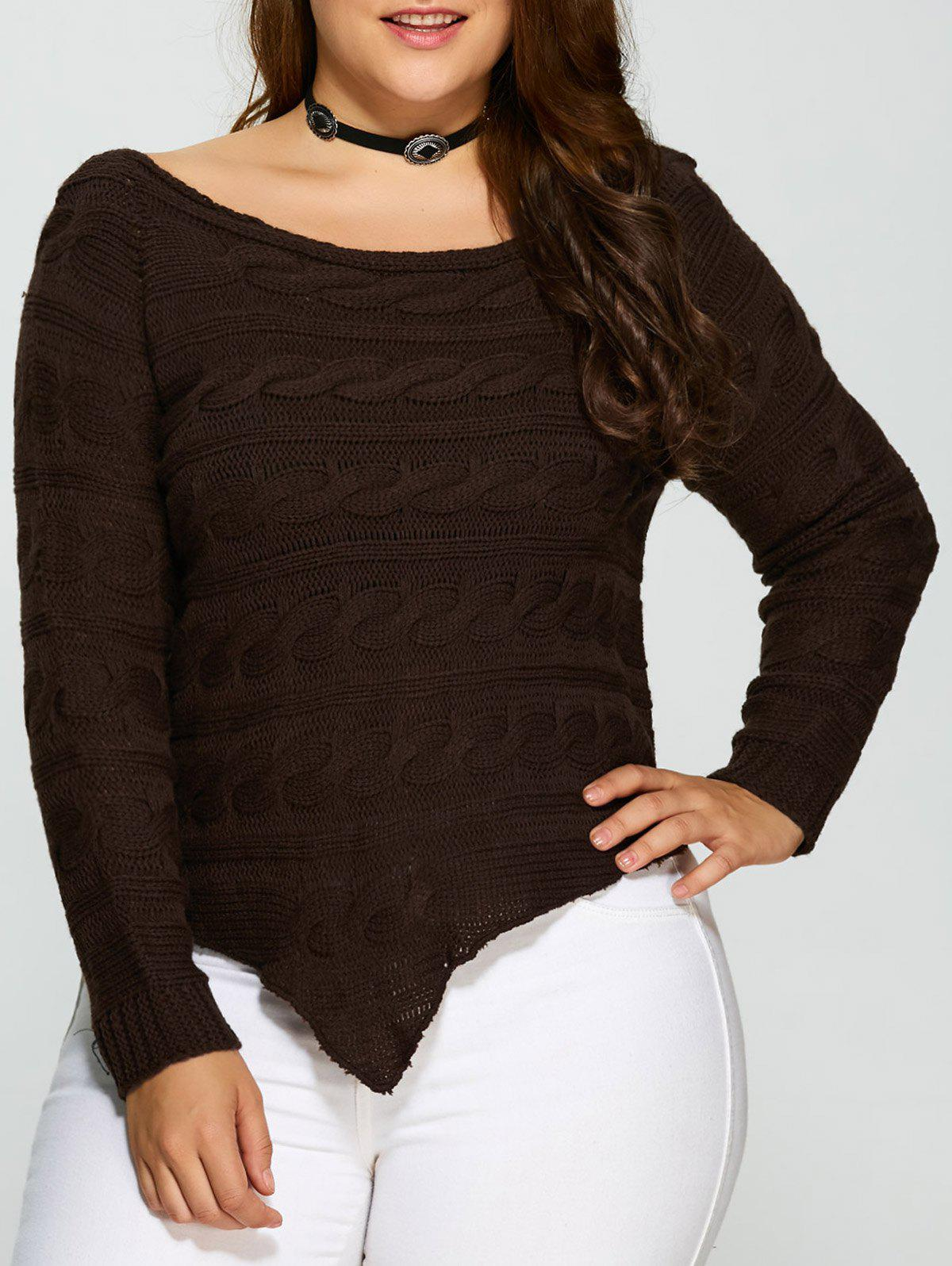 Chic Asymmetric Hem Cable Knit Plus Size Sweater