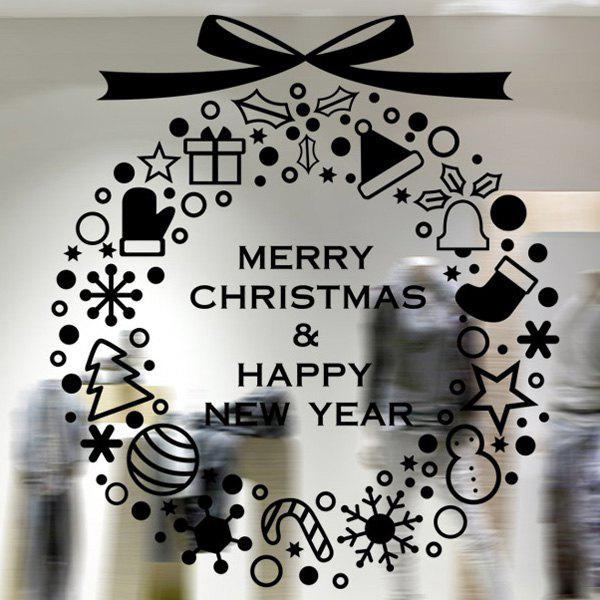 Merry Christmas Window Showcase Decoration Wall StickersHOME<br><br>Color: BLACK; Wall Sticker Type: Plane Wall Stickers; Functions: Decorative Wall Stickers; Theme: Christmas; Material: PVC; Feature: Removable; Size(L*W)(CM): 58*65; Weight: 0.418kg; Package Contents: 1 x Wall Stickers;