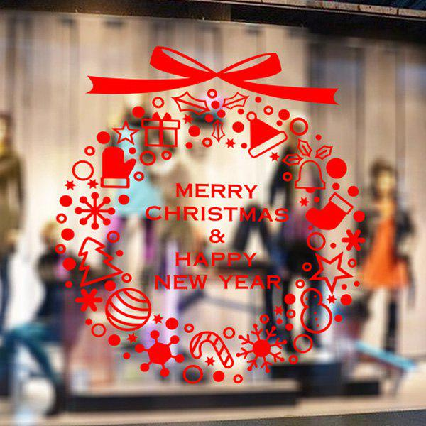 Merry Christmas Window Showcase Decoration Wall StickersHOME<br><br>Color: RED; Wall Sticker Type: Plane Wall Stickers; Functions: Decorative Wall Stickers; Theme: Christmas; Material: PVC; Feature: Removable; Size(L*W)(CM): 58*65; Weight: 0.418kg; Package Contents: 1 x Wall Stickers;