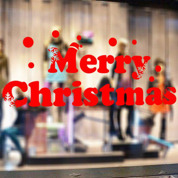 Window Showcase Decoration Merry Christmas Slogan Wall StickersHOME<br><br>Color: RED; Wall Sticker Type: Plane Wall Stickers; Functions: Decorative Wall Stickers; Theme: Christmas; Material: PVC; Feature: Removable; Size(L*W)(CM): 58*20; Weight: 0.144kg; Package Contents: 1 x Wall Stickers;