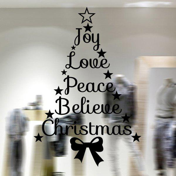 Removable Christmas Letters Wall Stickers Showcase DecorationHOME<br><br>Color: BLACK; Wall Sticker Type: Plane Wall Stickers; Functions: Decorative Wall Stickers; Theme: Christmas; Material: PVC; Feature: Removable; Size(L*W)(CM): 43*38.5; Weight: 0.123kg; Package Contents: 1 x Wall Stickers;