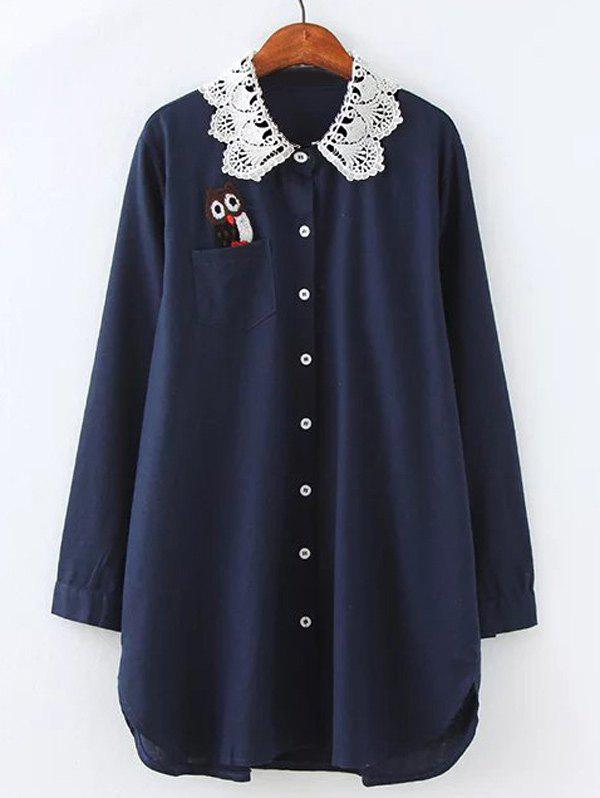 Outfit Plus Size Owl Lace Crochet Collar Tunic Shirt