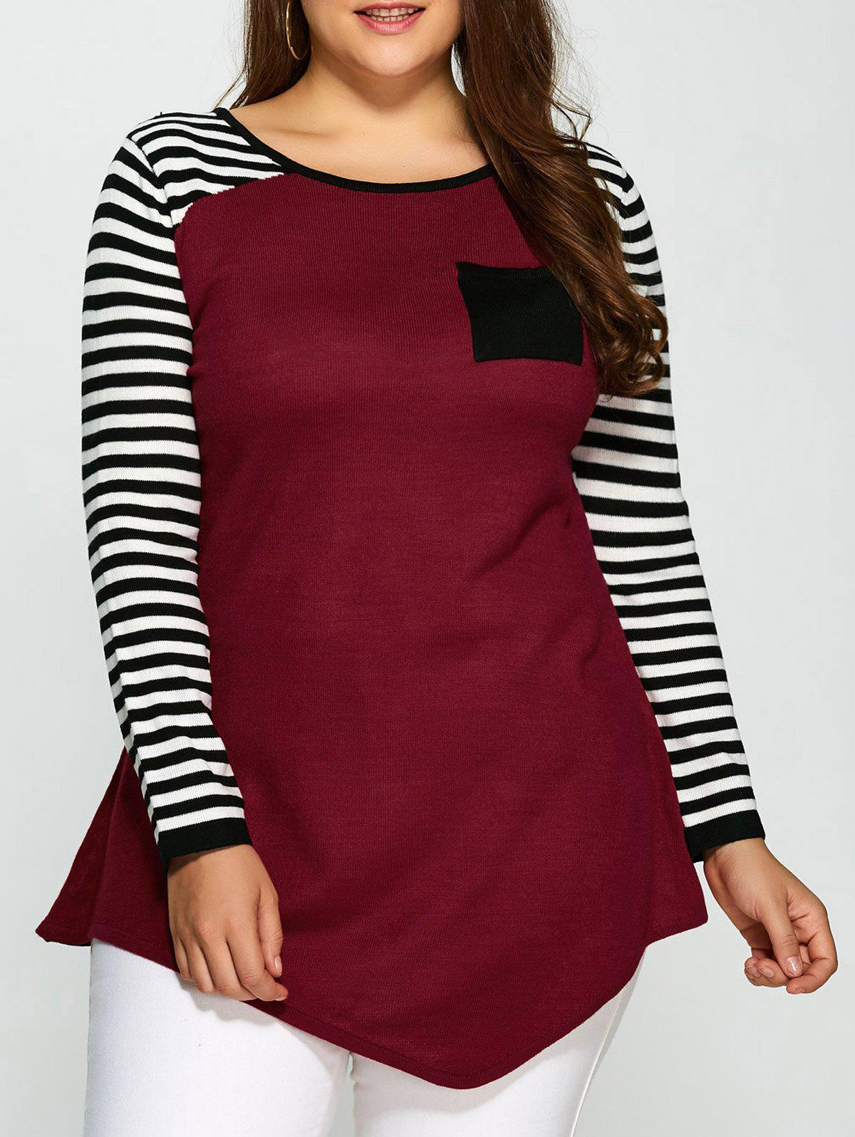 Plus Size One Pocket Asymmetric Striped SweaterWOMEN<br><br>Size: 4XL; Color: COLORMIX; Type: Pullovers; Material: Cotton,Spandex; Sleeve Length: Full; Collar: Round Neck; Technics: Computer Knitted; Style: Fashion; Season: Fall,Spring,Winter; Pattern Type: Striped; Weight: 0.450kg; Package Contents: 1 x Sweater;
