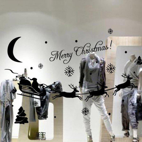 Removable Merry Christmas Deer Design Glass Showcase Wall StickersHOME<br><br>Color: BLACK; Wall Sticker Type: Plane Wall Stickers; Functions: Decorative Wall Stickers; Theme: Christmas; Material: PVC; Feature: Removable; Size(L*W)(CM): 43*13; Weight: 0.048kg; Package Contents: 1 x Wall Stickers;