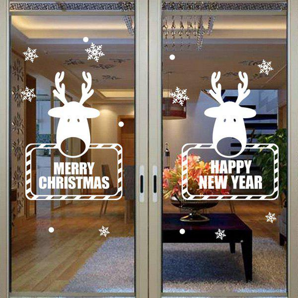 Happy New Year Deer Pattern Glass Window Door Wall StickersHOME<br><br>Color: WHITE; Wall Sticker Type: Plane Wall Stickers; Functions: Decorative Wall Stickers; Theme: Christmas; Material: PVC; Feature: Removable; Size(L*W)(CM): 58*38; Weight: 0.200kg; Package Contents: 1 x Wall Stickers;