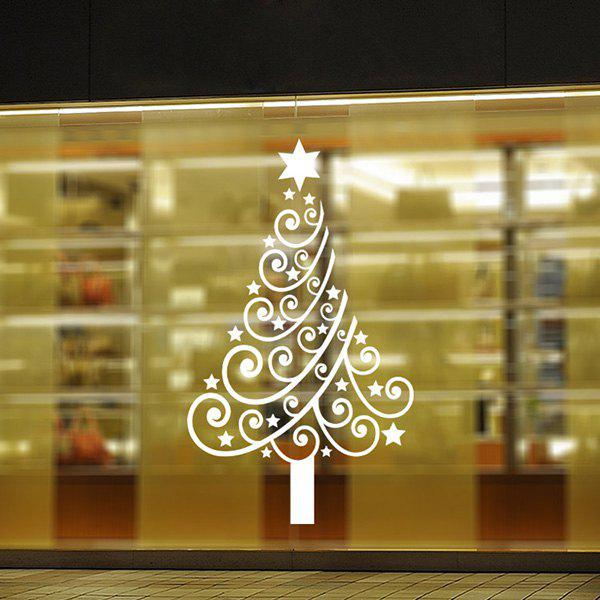 Multicolor Christmas Tree Glass Window Vinyl Wall Stickers CustomHOME<br><br>Color: WHITE; Wall Sticker Type: Plane Wall Stickers; Functions: Decorative Wall Stickers; Theme: Christmas,Holiday; Material: PVC; Feature: Removable,Washable; Size(L*W)(CM): 57*62; Weight: 0.140kg; Package Contents: 1 x Wall Stickers;