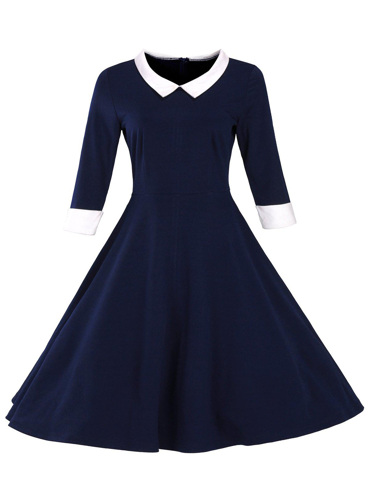 Retro Flat Collar Flare DressWOMEN<br><br>Size: XL; Color: PURPLISH BLUE; Style: Cute; Material: Cotton Blend,Polyester; Silhouette: Ball Gown; Dresses Length: Mid-Calf; Neckline: Flat Collar; Sleeve Length: 3/4 Length Sleeves; Embellishment: Vintage; Pattern Type: Patchwork; With Belt: No; Season: Fall,Spring,Winter; Weight: 0.470kg; Package Contents: 1 x Dress;