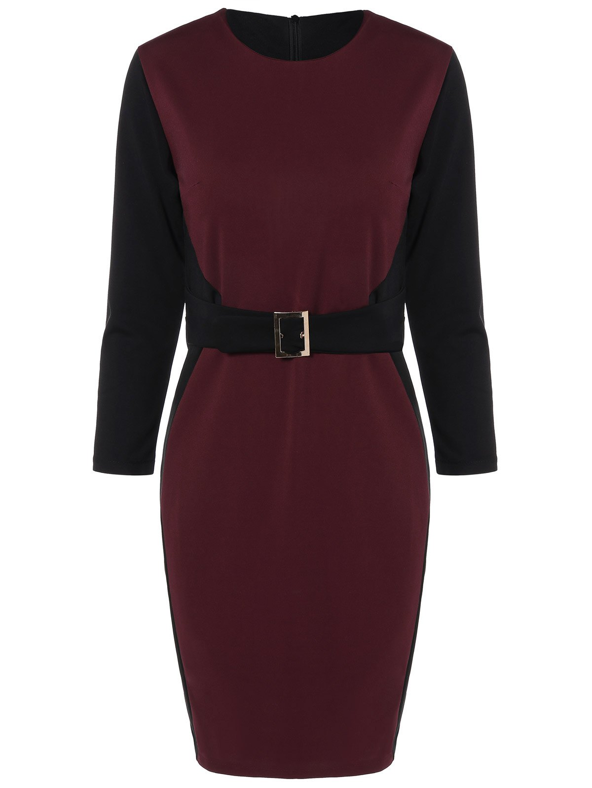Outfits Color Block Knee Length Bodycon Dress