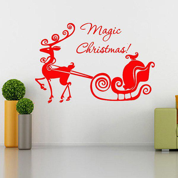 Magic Christmas Removable Glass Window Wall StickersHOME<br><br>Color: RED; Wall Sticker Type: Plane Wall Stickers; Functions: Decorative Wall Stickers; Theme: Christmas,Holiday; Material: PVC; Feature: Removable,Washable; Size(L*W)(CM): 58*45; Weight: 0.235kg; Package Contents: 1 x Wall Stickers;