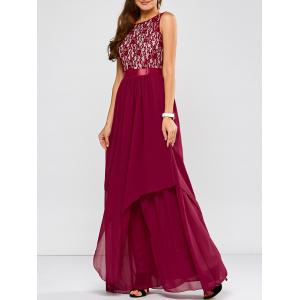 Lace Panel Chiffon Maxi Evening Formal Bridesmaid Prom Dress - Wine Red - S