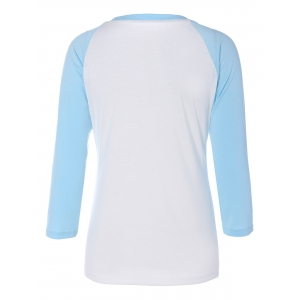 Elk Graphic Raglan Sleeves T-Shirt - CLOUDY 2XL