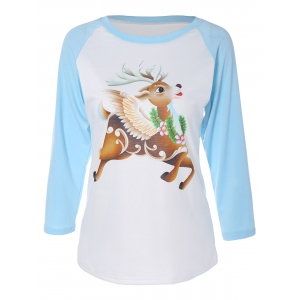 Elk Graphic Raglan Sleeves T-Shirt