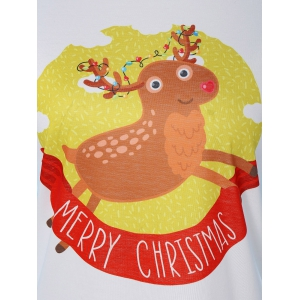 Deer Print Christmas T-Shirt - CLOUDY XL