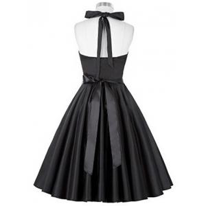 Retro Ruched Hem Halter Swing Prom Dress - BLACK S