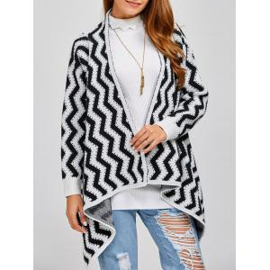 Long Sleeve Zig Zag Asymmetric Cardigan - Black White - S