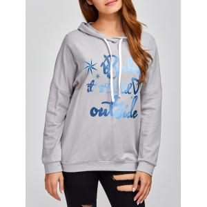 Drop Shoulder Letter Print Hoodie - Gray - S