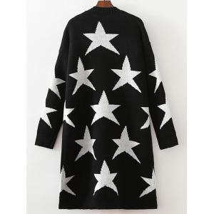 Collarless Two-Tone Star Long Cardigan -