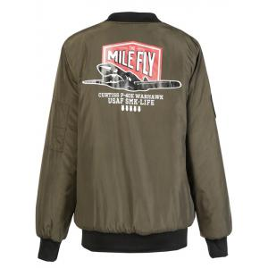 Letter Plane Pattern Bomber Jacket - ARMY GREEN S