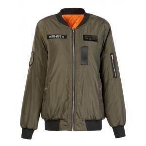 Letter Plane Pattern Bomber Jacket - Army Green - S