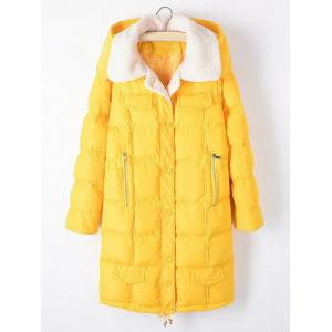 Plus Size Fleece Hooded Long Padded Coat - Yellow - 2xl