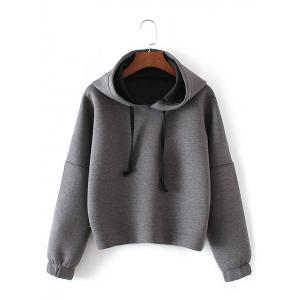 Drop Shoulder Crop Hoodie - Gray - M